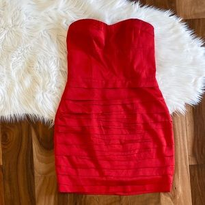 Express red satin strapless mini party dress sz 8